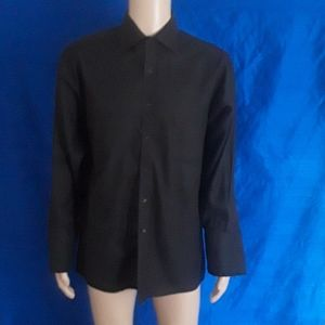 Black Dobby Weave Button Down Shirt